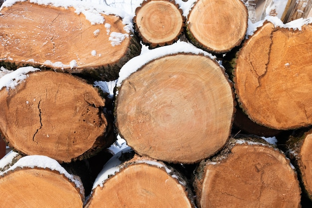 Gestapelde stapels brandhout. brandhout onder de sneeuw. gehakte stammen. achtergrond, textuur