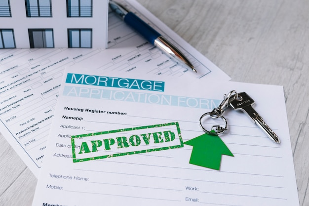 Gestempeld papierformulier voor hypotheek