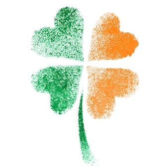 Gestencilde vierbladige ierse kruidnagel met kleuren van de vlag van ierland