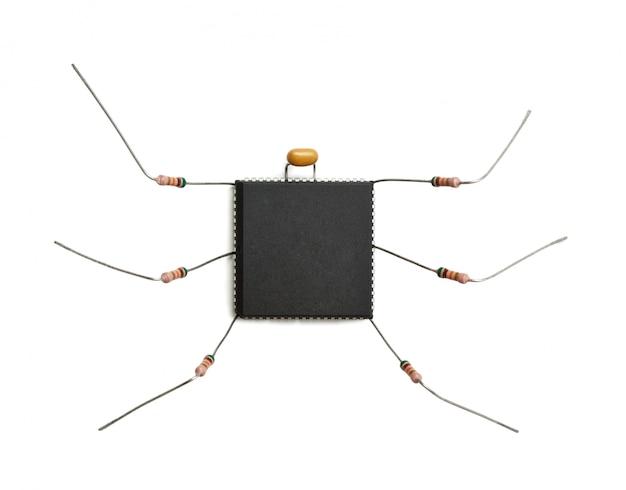 Gestileerd computervirus van elektronische componenten geïsoleerd op een witte achtergrond