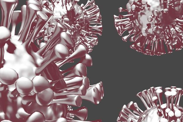 Gestileerde covid 19 paarse virusclose-up op donkere achtergrond. 3d render
