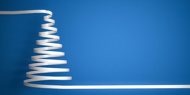 Gestileerde witte lint kronkelige kerstboom op blauwe achtergrond met