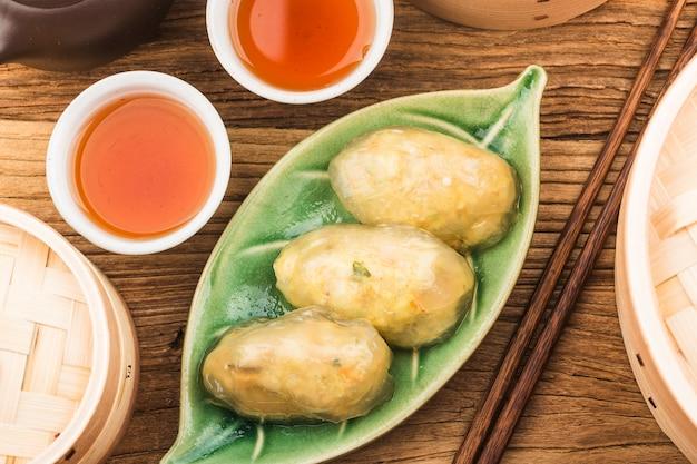 Gestoomde chinese crystal meat dumplings