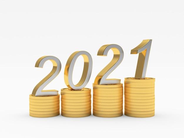 Getallen 2021 op een grafiek van stapels gouden munten