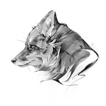 Getekend portret van dierlijke vos op witte achtergrond