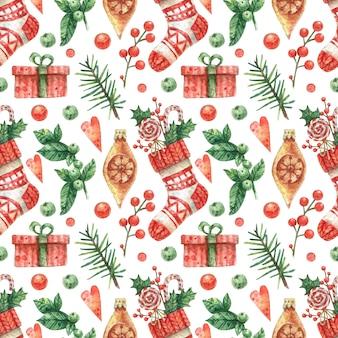Getekende achtergrond met rode gebreide kerstsok