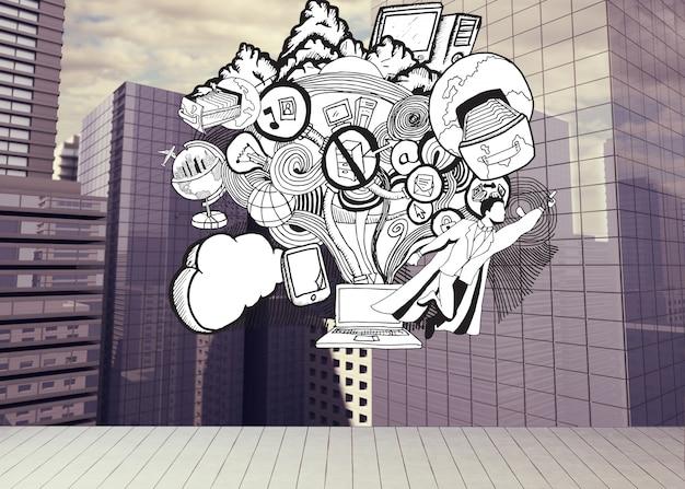 Getekende illustratie op stadsgezicht achtergrond