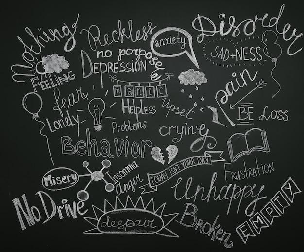 Getekende woorden op achtergrond met veel problemen