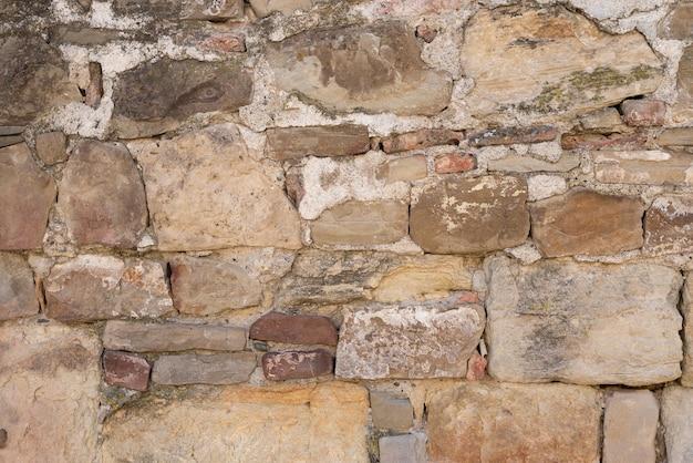 Getextureerde stenen gestapeld op elkaar, daartussen cement abstracte muur