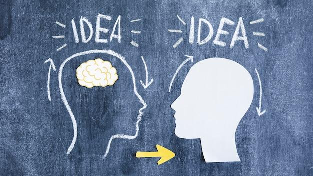 Getrokken en papier uitsparing met pijlen uitwisselen van gedachten op blackboard