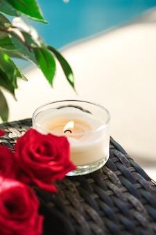 Geurkaarsen collectie als luxe spa achtergrond en badkamer interieur organische aroma kaars voor...