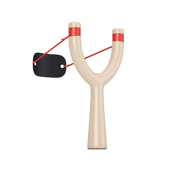 Gevaar houten katapult speelgoed wapen op een witte achtergrond. 3d-rendering