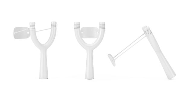 Gevaar houten slingshot toy wapen in clay style op een witte achtergrond. 3d-rendering