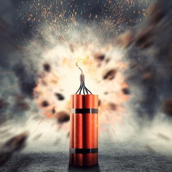 Gevaarlijk dynamiet dat explodeert