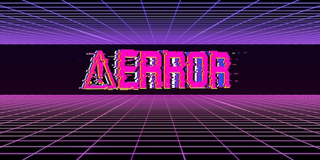 Gevaarsymbool computer glitch neon kleur computersysteemfout