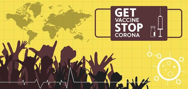 Gevaccineerd worden stopt het corona vlakke stijlconcept van vaccinatie-injectieillustratie