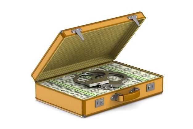 Geval met contant geld en handboeien op witte ruimte. geïsoleerde 3d-afbeelding