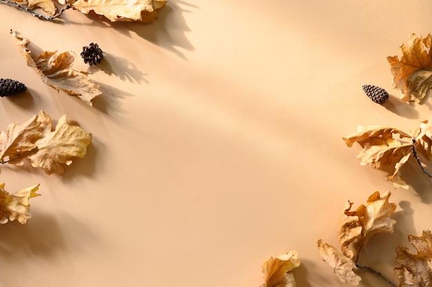 Gevallen gouden eikenbladeren geïsoleerd op beige