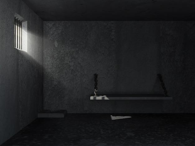 Gevangenisinterieur met zonnestralen die door een getralied raam breken