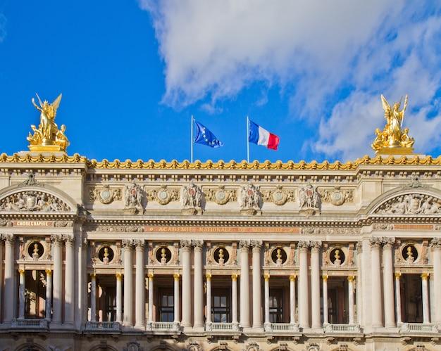 Gevel palais garnier - operahuis van parijs, frankrijk