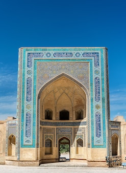 Gevel van de kalyan-moskee in bukhara, oezbekistan. centraal-azië