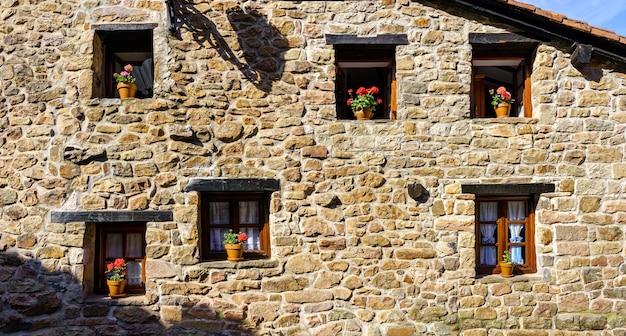 Gevel van een oud stenen huis met veel ramen en bloempotten