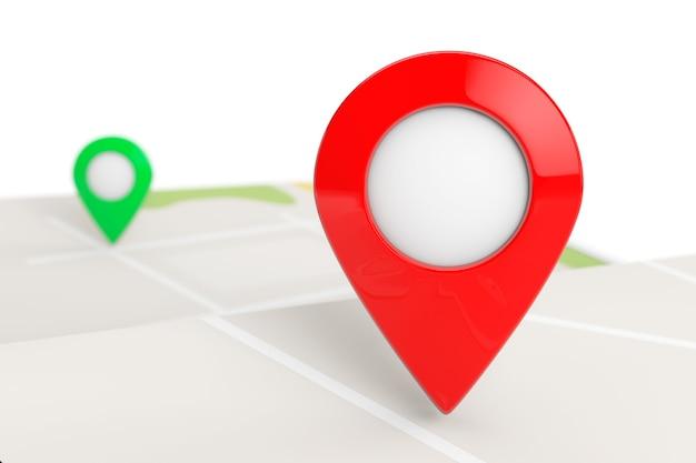 Gevouwen abstracte navigatiekaart met doelpin op een witte achtergrond