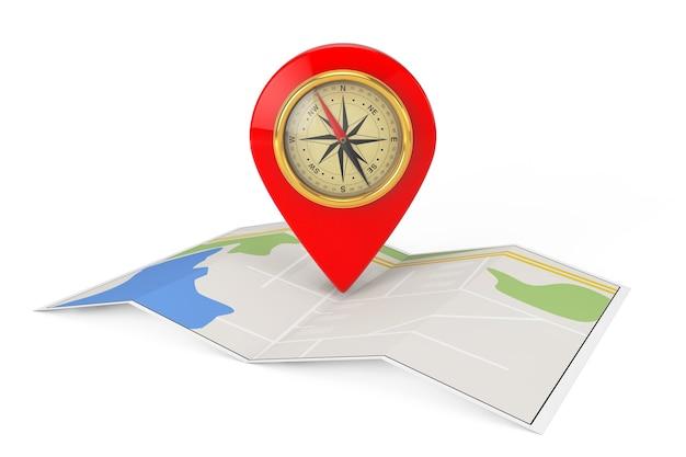 Gevouwen abstracte navigatiekaart met doelspeld en kompas op een witte achtergrond. 3d-rendering