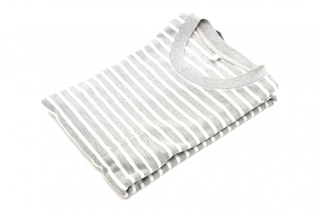 Gevouwen gestreept t-shirt op wit