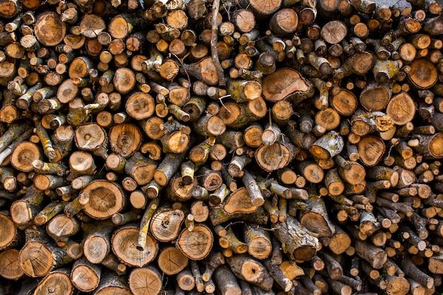 Gevouwen houten stammen.