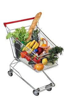 Gevuld levensmiddelenboodschappenwagentje dat op wit wordt geïsoleerd.