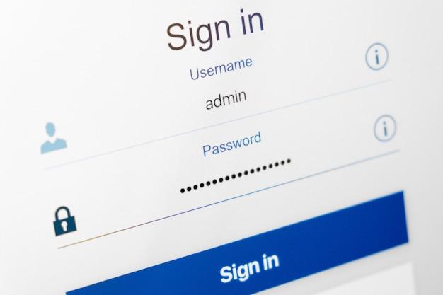 Gevulde login en verborgen door stippen wachtwoord op login scherm