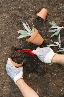 Gewassentuinman die grond zetten in bloempot
