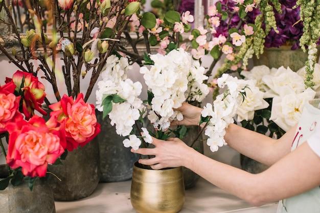 Gewasvrouw die mooie bloemen samenstellen