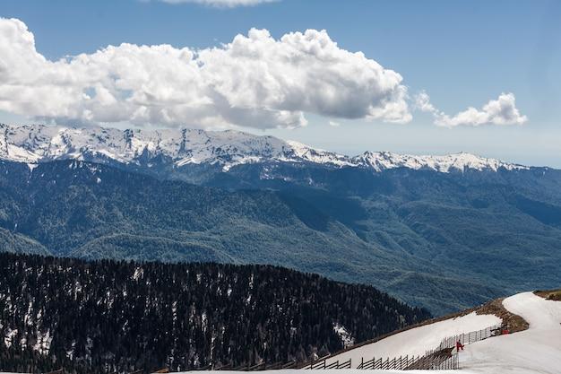 Geweldig beeld van groene berglandschap met blauwe lucht en witte wolken