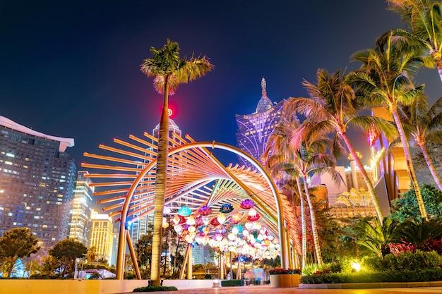 Geweldig panoramisch uitzicht op macao casino stadsgezicht in het centrum.