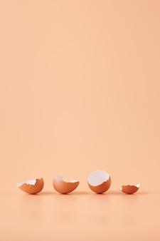 Geweldig schot van eierschaal geïsoleerd op oranje achtergrond