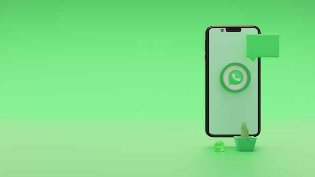 Geweldig social media logo icoon whatsapp 3d render op mobiel scherm