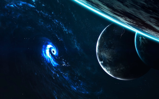 Geweldig spiraalvormig sterrenstelsel. diepe ruimte, schoonheid van eindeloze kosmos. science fiction behang. elementen van deze afbeelding geleverd door nasa