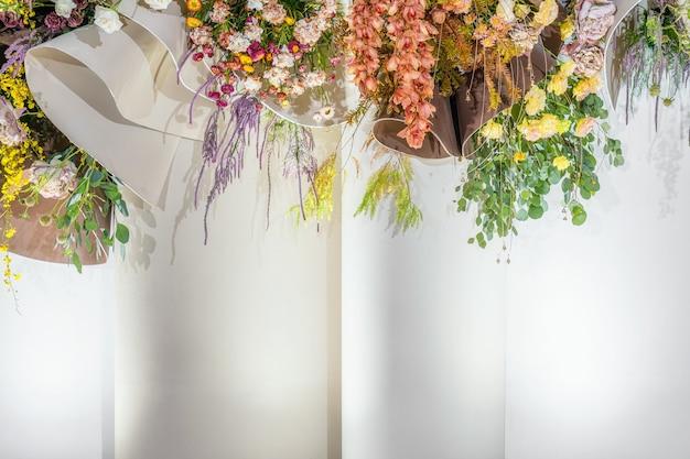 Geweldige bruiloft bloemenachtergronden in huwelijksceremonielover en valentine kleurrijk en geluk