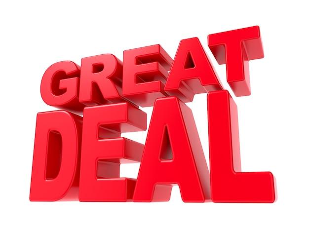 Geweldige deal - rode 3d-tekst. geïsoleerd op een witte achtergrond.