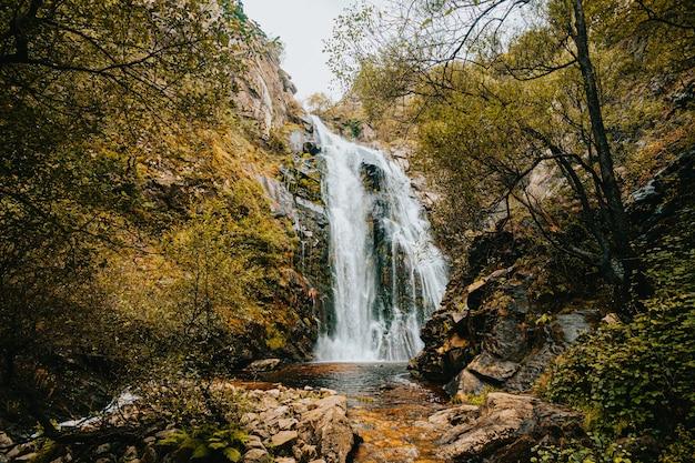 Geweldige enorme waterval midden in het bos