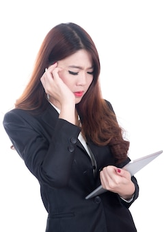Gewonde zakenvrouw met hoofdpijn, migraine, stress