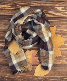 Gezellige geruite sjaal en herfstbladeren