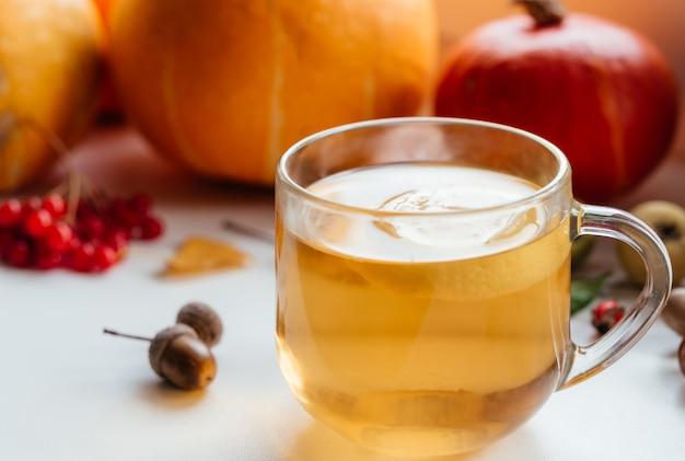 Gezellige herfstcompositie met een kop warme citroenthee, pompoenen en eikels