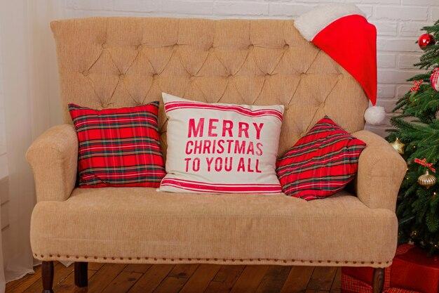 Gezellige kerst interieur met festival decoratie.