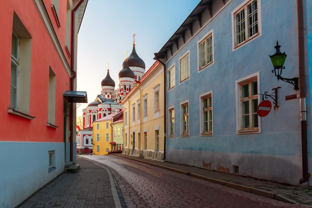 Gezellige straat en russisch-orthodoxe alexander nevski-kathedraal in de ochtend, tallinn, estland