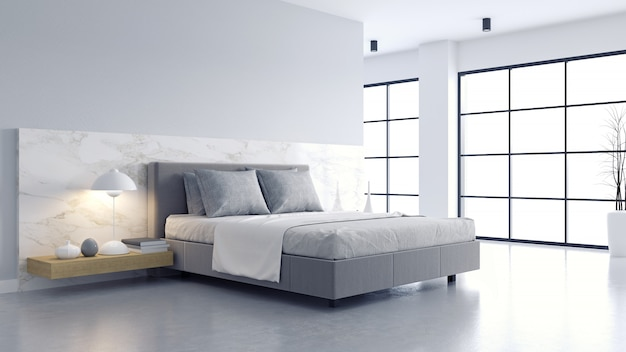Gezellige witte en grijze kamer minimalistisch