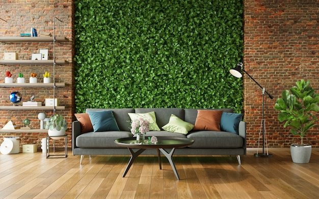 Gezellige woonkamer met groene muur en moderne meubels 3d render