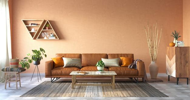 Gezellige woonkamer met terracotta kleuren